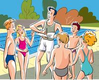 Sports center, an instructor enrolled a group. Of kids to swimming lessons Royalty Free Stock Image