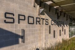Sports Center on the side wall of community area. In Daybreak Utah Royalty Free Stock Photography