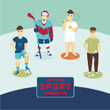 Sports characters set. Cartoon players. Stock Image