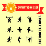 Sports charge man icons Stock Photography