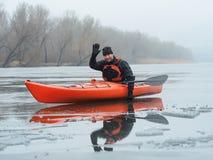Sports cheerful man in kayak Royalty Free Stock Photo