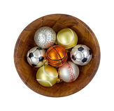 Sports Christmas Ornaments In Bowl Top View Stock Image