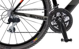 Sports mountain bike. Side view. High quality realistic . A set of chain sprockets for a bicycle. Sports City Bike View Above Side. Bicycle. A realistic . Sport stock illustration