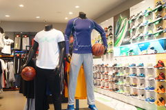 Sports clothes and sports shoes sales shop Stock Photo