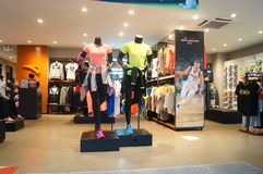 Sports clothes and sports shoes sales shop Royalty Free Stock Photo