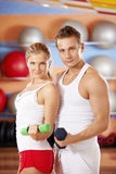 Sports club. Two beautiful trainers with dumbbells in hands in sports club Stock Images