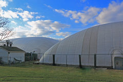 Sports Club Inflatable Dome. Sports club protected by inflatable dome  in cold winter seasons Stock Image
