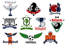 Sports club or team emblems and icons Stock Photography