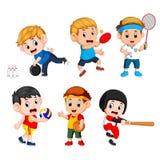 Sports collectifs pour des enfants comprenant le basket-ball, base-ball, bowling, volleyball, badminton, ping-pong Illustration de Vecteur
