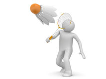 Sports collection - Badminton player. 3d characters isolated on white background series Royalty Free Stock Image