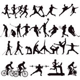 Sports collection illustrations. Illustrations of sportsmen and sportswomen seen in silhouette taking part in various sports including golf, tennis, running stock illustration