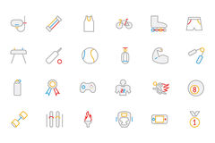 Sports Colored Outline Vector Icons 2. Summer is the perfect time to get outside and play all day. With this Sports Icons Pack you'll have all you need to play Royalty Free Stock Photos