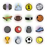 Sports comics icons Royalty Free Stock Photos