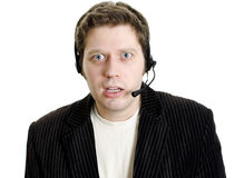 Sports commentator or Customer support Royalty Free Stock Images