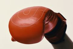 Sports and competition concept. Leather box equipment on white background. Defocused. Boxing glove on male hand, close up royalty free stock image