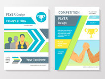 Sports Competition Flyer Template. With winner partnership gold medals and cup vector illustration Royalty Free Stock Image