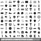 100 sports competition icons set, simple style. 100 sports competition icons set in simple style for any design vector illustration Royalty Free Illustration