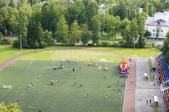 Sports field. Sports competitions on the sports field royalty free stock images