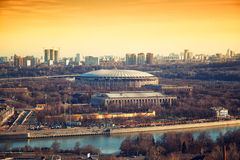 Sports complex Luzhniki in Moscow at sunset Royalty Free Stock Photos