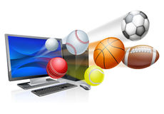 Sports computer app concept. An illustration of a pc computer with sports balls flying out of the screen Stock Photos