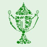 Sports Concept. Shape of trophy made of different sports icon Stock Image