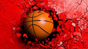 Basketball ball breaking forcibly through a red wall. 3d illustration. Sports concept. Basketball ball breaking with great force through a red wall. 3d vector illustration