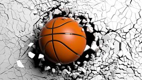 Basketball ball breaking forcibly through a white wall. 3d illustration. Sports concept. Basketball ball breaking with great force through a white wall. 3d Stock Photos