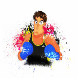 Sports concept with Boxing Player. Illustration of a Boxing Player ready to fight on abstract colorful splash background for Sports concept Stock Images