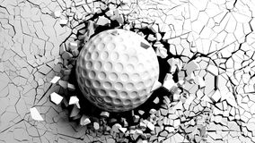 Golf ball breaking forcibly through a white wall. 3d illustration. Sports concept. Golf ball breaking with great force through a white wall. 3d illustration Stock Image