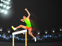 Sports concept with man jumping hurdle. Royalty Free Stock Photo