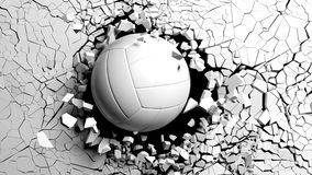 Volleyball ball breaking forcibly through a white wall. 3d illustration. stock photo