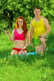 Sports couple with dumbbells Stock Photo