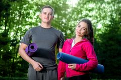 Sports couple in the park Stock Photography