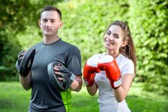 Sports couple in the park Royalty Free Stock Photo