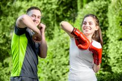 Sports couple in the park Stock Photos
