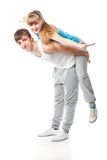 Sports couple in the studio Royalty Free Stock Photography