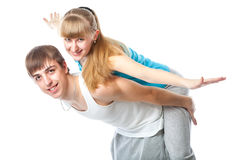 Sports couple in the studio Stock Photos