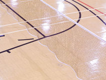 Sports court with markings. Indoor Basketball Court Markings and Badminton Net Stock Images
