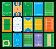 Sports courts and fields. Illustration of different sports courts and fields isolated against a black background Royalty Free Stock Photography