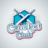 Sports of cricket concept with bat and ball. Stylish text Cricket Club with bat and red ball on shiny sky blue background Royalty Free Stock Image