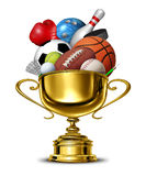 Sports Cup. Sports gold cup winner trophy with a blank metal base on a white background as a group activity success concept for winning and being first and the Royalty Free Stock Photography
