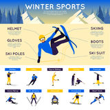 Sports d'hiver Infographics Image stock
