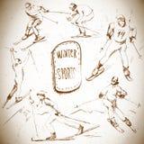Sports d'hiver, scetch de skieur Image libre de droits