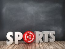 SPORTS 3D Word with Target on Chalkboard Background. High Quality 3D Rendering royalty free illustration