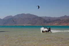 Sports in Dahab of Egypt. Dahab back on mount sinai, superior terrain, let there be sailing, aquatic paraglider, surfing, scuba diving, sea fishing, the deserts Royalty Free Stock Photo