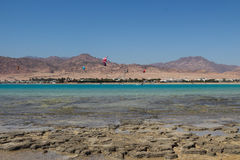 Sports in Dahab of Egypt. Dahab back on mount sinai, superior terrain, let there be sailing, aquatic paraglider, surfing, scuba diving, sea fishing, the deserts Stock Photography