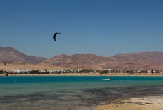 Sports in Dahab of Egypt. Dahab back on mount sinai, superior terrain, let there be sailing, aquatic paraglider, surfing, scuba diving, sea fishing, the deserts Royalty Free Stock Photos