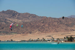 Sports in Dahab of Egypt. Dahab back on mount sinai, superior terrain, let there be sailing, aquatic paraglider, surfing, scuba diving, sea fishing, the deserts Stock Photo