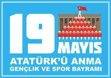 Sports day banner. Translation from Turkish: May 19, Ataturk Memorial day, holiday of youth and sport. A vector illustration by a public holiday of Turkey stock illustration