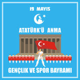 Sports day of Turkey. Translation from Turkish: May 19, Ataturk Memorial day, holiday of youth and sport. A vector illustration by a public holiday of Turkey royalty free illustration